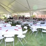 Patio Tent Tables and chairs